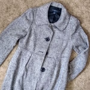 Gap Black & White Tweed Long Coat